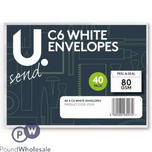 40 PACK PEEL AND SEAL 80GSM C6 WHITE ENVELOPES