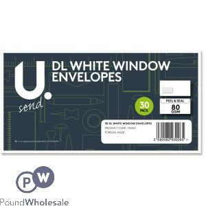 30 PACK PEEL AND SEAL 80GSM DL WHITE WINDOW ENVELOPES