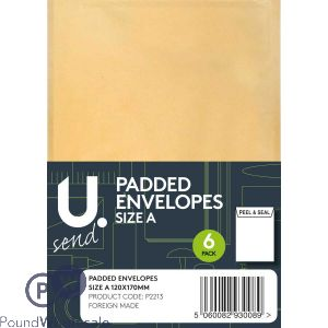 6 PACK SIZE A PADDED ENVELOPES 120MM X 170MM