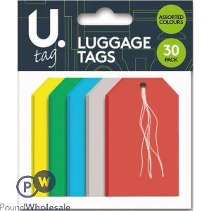 30 PACK LUGGAGE TAGS 5 ASSORTED COLOURS