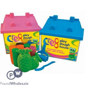 PLAY DOUGH HOUSE SET 10PC 2 ASSORTED COLOURS