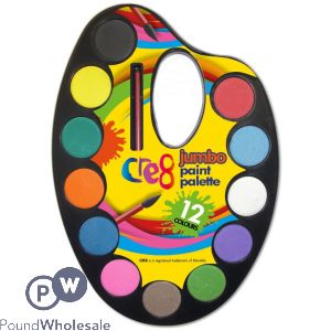 CRE8 12 COLOUR JUMBO PAINT PALETTE WITH BRUSH