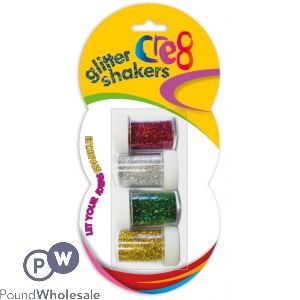 CRE8 GLITTER SHAKERS ASSORTED COLOURS 4 PACK