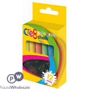 CRE8 COLOURED CHALK ASSORTED 12 PACK