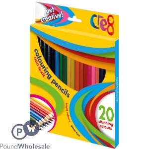 CRE8 COLOURING PENCILS ASSORTED COLOURS 20 PACK