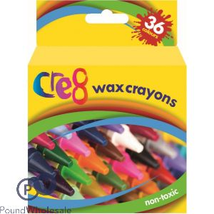 CRE8 WAX CRAYONS ASSORTED COLOURS 36PK