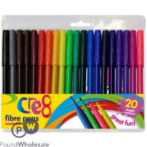 CRE8 FIBRE PENS ASSORTED COLOURS 20 PACK