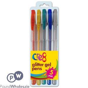 CRE8 GLITTER GEL INK PENS 5PK