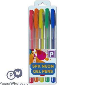 5PK NEON GEL INK PENS