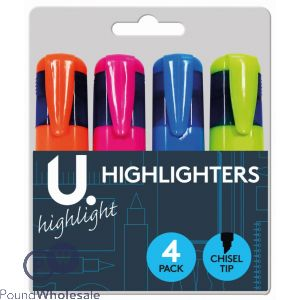4PK HIGHLIGHTERS ASSORTED COLOURS