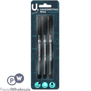 U. BLACK HANDWRITING PENS 3 PACK