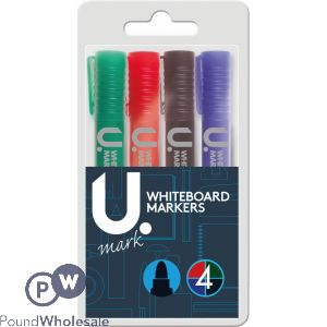 U. WHITE BOARD MARKERS ASSORTED COLOURS 4 PACK