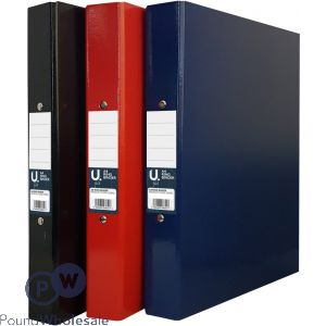 U. A4 RING BINDERS 3 ASSORTED COLOURS