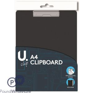 U. BLACK A4 CLIPBOARD WITH COVER