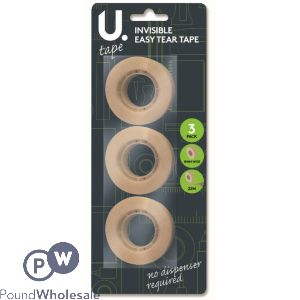 3PK INVISIBLE EASY-TEAR TAPE  18MM WIDE 22M LONG