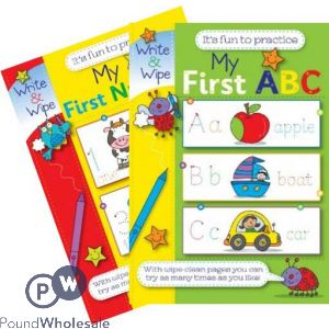 MY FIRST NUMBERS & ABC BOOK WIPE AND CLEAN REUSABLE (NO VAT) 2 ASSORTED DESIGNS