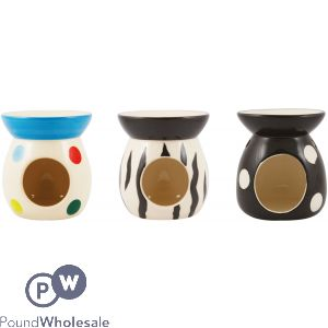 CERAMIC OIL BURNERS 3 ASSORTED PATTERNS