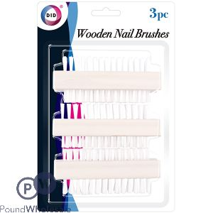 DID WOODEN NAIL BRUSHES 3PC