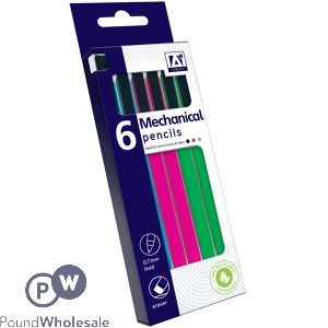 MECHANICAL PENCILS ASSORTED COLOURS 6 PACK