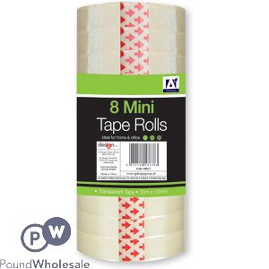 8 TRANSPARENT MINI TAPE ROLLS 30M X 12MM