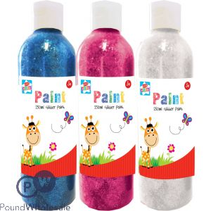 GLITTER PAINT 250ML 3 ASSORTED COLOURS IN CDU