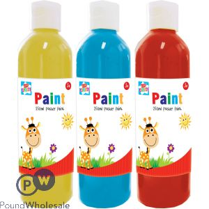 KIDS CREATE POSTER PAINTS 250ML IN CDU 3 ASSORTED COLOURS