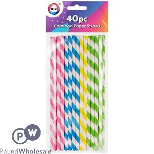 DID COLOURED PAPER STRAWS 40PC