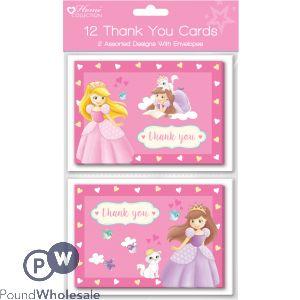 PRINCESS DESIGN 12 THANK YOU CARDS WITH ENVELOPES