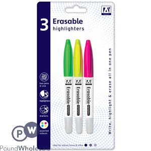 ERASABLE HIGHLIGHTER PENS ASSORTED COLOURS 3 PACK
