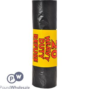 RM EXTRA HEAVY DUTY 110G 20PK BLACK REFUSE SACKS 110L 30 ROLLS IN A BOX