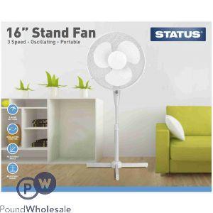 "STATUS 16"" OSCILLATING 3 SPEED STAND FAN"