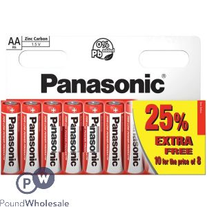 AA R6 PANASONIC ZINC CARBON 1.5V BATTERIES 10 PACK