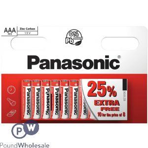 AAA R03 PANASONIC ZINC CARBON 1.5V BATTERIES 10 PACK