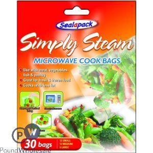 SEALAPACK SIMPLY STEAM MICROWAVE COOK BAGS 30 PACK