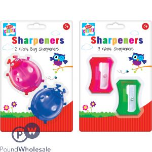 2 GIANT NOVELTY SHARPENERS 2 ASSORTED DESIGNS