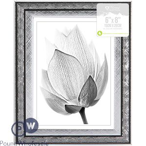 """HOME COLLECTION SILVER SWIRL PHOTO FRAME 6"""" X 8"""""""