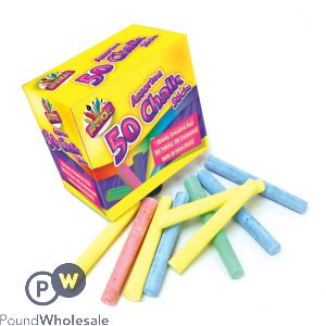 Pack/50 Assorted White/Colour Chalk