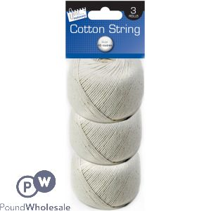 JUST STATIONERY BALLS OF COTTON STRING 3 PACK