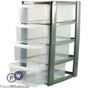 4 TIER MINI TOWER DRAWER UNIT SILVER
