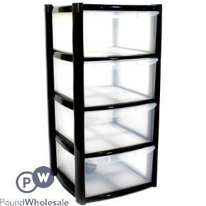 LARGE 4 DRAWER TOWER WITH FEET AND WHEELS BLACK