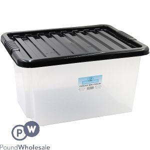 PLASTIC STORAGE BOX WITH LID LARGE 35LTR