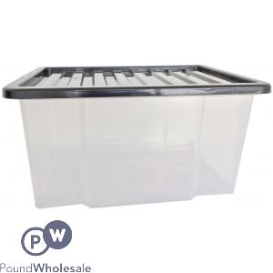 PLASTIC STORAGE BOX WITH LID LARGE 50LTR