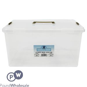 CLIPPY PLASTIC STORAGE BOX 15LTR CLEAR