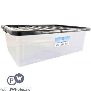 CLIPPY PLASTIC UNDER BED BOX WITH BLACK LID 32LTR