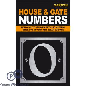 ADHESIVE HOUSE AND GATE NUMBER BLACK WITH SILVER NUMBER 0