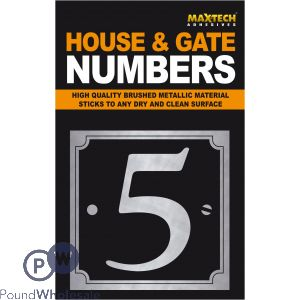 ADHESIVE HOUSE AND GATE NUMBER BLACK WITH SILVER NUMBER 5