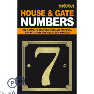 ADHESIVE HOUSE AND GATE NUMBER BLACK WITH GOLD NUMBER 7
