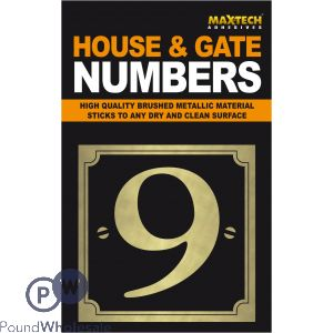 ADHESIVE HOUSE AND GATE NUMBER BLACK WITH GOLD NUMBER 9
