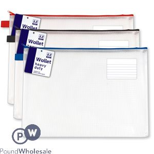 A4 HEAVY DUTY WALLET 3 ASSORTED COLOURS