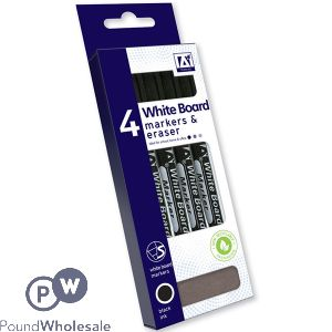 WHITE BOARD MARKERS & ERASERS BLANK INK 4 PACK